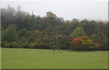 TQ5959 : Pylon in front of Cooper's Wood by N Chadwick