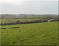 ST1273 : Field with a distant view of television transmitter near Wenvoe by Jaggery