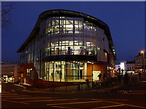 SZ0891 : Bournemouth: central library at nightfall by Chris Downer