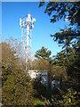 SW7021 : Communications mast near Bonython Wind Farm by Rod Allday
