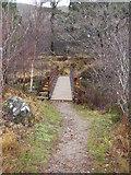 NM8464 : Footbridge over Strontian River by Peter Bond