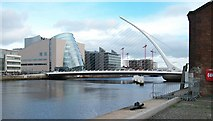 O1634 : The Samuel Beckett Bridge from the old warehouses on City Quay by Eric Jones