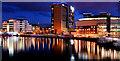 J3474 : The River Lagan, Belfast (at night) by Albert Bridge