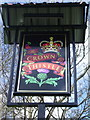 NY3561 : The Crown & Thistle, Rockcliffe, Sign by Alexander P Kapp