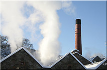 NT4935 : Abbotsford Mill roofs and chimney, Galashiels by Walter Baxter
