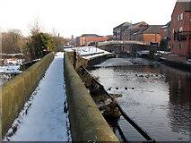 SK7953 : Newark: riverside warehouses seen from Longstone Bridge by John Sutton