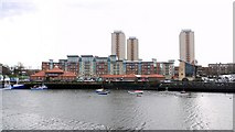 NZ4057 : Fish Quay and River View apartments, south side of the River Wear by Andrew Curtis
