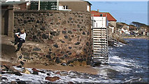 NO4102 : Coastal walls, Lower Largo, Fife by Andy Campbell