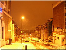 TQ3370 : Snowy night, Woodland Road SE19 by Christopher Hilton