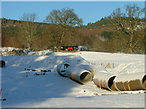 NH5966 : Water pipes and horse at Ballavoulin by Dave Fergusson
