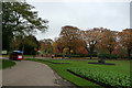 SP0684 : Flower beds and road train in Cannon Hill Park by Phil Champion