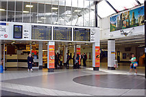 SE1632 : Bus and train departure screens, lower concourse at Bradford Interchange by Phil Champion