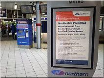 SE1632 : Alcohol ban on trains to Bradford - poster at Bradford Interchange by Phil Champion