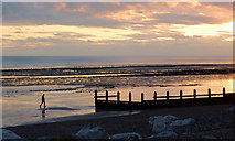 TQ1602 : Worthing Beach at dusk, West Sussex by Roger  Kidd