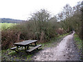 SJ8860 : Picnic table on the Biddulph Valley Way by Stephen Craven