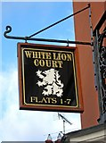 SO8171 : White Lion Court - sign, Lion Hill by P L Chadwick