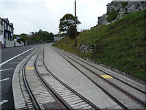 SH7782 : Great Orme Tramway - passing loop on lower section, Ty-Gwyn Road by Phil Champion