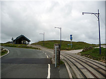 SH7783 : Tramway and cattle grid near Halfway Station, the Great Orme by Phil Champion