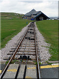 SH7783 : Great Orme Tramway - looking downhill towards the Halfway station by Phil Champion