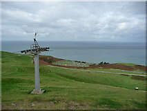 SH7683 : Cable car pylon and view towards the cemetery near St Tudno's church, Great Orme by Phil Champion