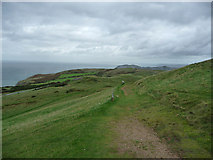 SH7683 : Track below the cable car terminus, Great Orme by Phil Champion