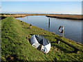 TG4809 : Boat by Mautby Marsh drainage pump on the River Bure by Evelyn Simak