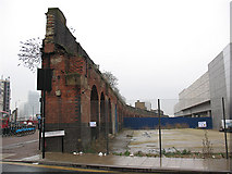 TQ3382 : Walls of the former Bishopsgate goods yard by Stephen Craven