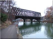 TL1998 : Railway bridge crossing the River Nene, Peterborough by Richard Humphrey