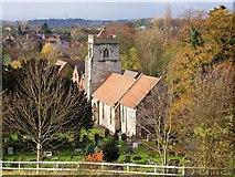 SP1566 : Beaudesert Church seen from the Castle by John Brightley