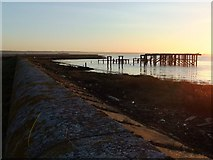 TQ7178 : Derelict jetty on the Thames shore, above Lower Hope Point by Stefan Czapski