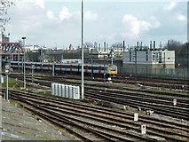 TQ2282 : Heathrow Connect train near Scrubs Lane by Robin Webster