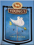 TQ4265 : Sign for The Two Doves, Oakley Road, BR2 by Mike Quinn