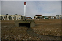 TQ7306 : Bexhill-on-Sea: stream outfall on the beach by Christopher Hilton