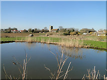TM4160 : Friston church from across the pond by Adrian S Pye
