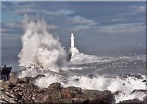 NJ9605 : The south breakwater does its job at Aberdeen harbour by Alan Reid