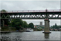SO8455 : Railway bridge over the River Severn at Worcester by Roger  Kidd