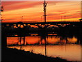 NZ4619 : Tees Barrage at sunset by Peter Gill