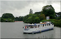 SO8453 : River cruise boat turning near Worcester by Roger  Kidd
