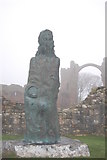 NU1241 : Holy Island : Statue of Saint Cuthbert at Lindisfarne Priory by Ken Bagnall