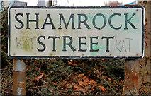 J3573 : Shamrock Street sign, Belfast by Albert Bridge