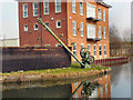 SJ6599 : Bridgewater Canal, Crane and Board, Leigh by David Dixon