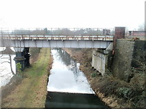 SS7597 : Track along narrow strip of land between canal and river, Neath by Jaggery