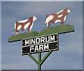 NT8432 : Mindrum Farm sign by Walter Baxter