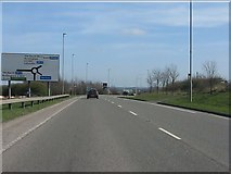 SK4625 : A453 approaching Donington Park service area by Peter Whatley
