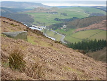 SK2086 : Bracken, hillside and A57 over the Ashopton Viaduct by Peter Barr