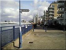 TQ2575 : Thames Path at Wandsworth Riverside by Marathon