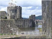 ST1587 : Ring Defences, Caerphilly Castle by Colin Smith