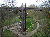 TQ1876 : View of the lift shaft and spiral staircase leading up to the Xstrata Treetop Walkway by Robert Lamb