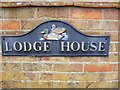 TM3158 : Lodge House sign by Adrian Cable