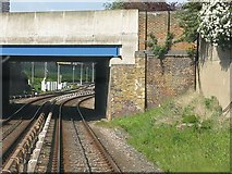 TQ3880 : Poplar High Street overbridge, Docklands Light Railway by Peter Whatley